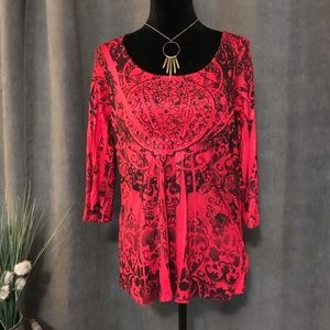 Energe World Wear red and black top, Size Medium